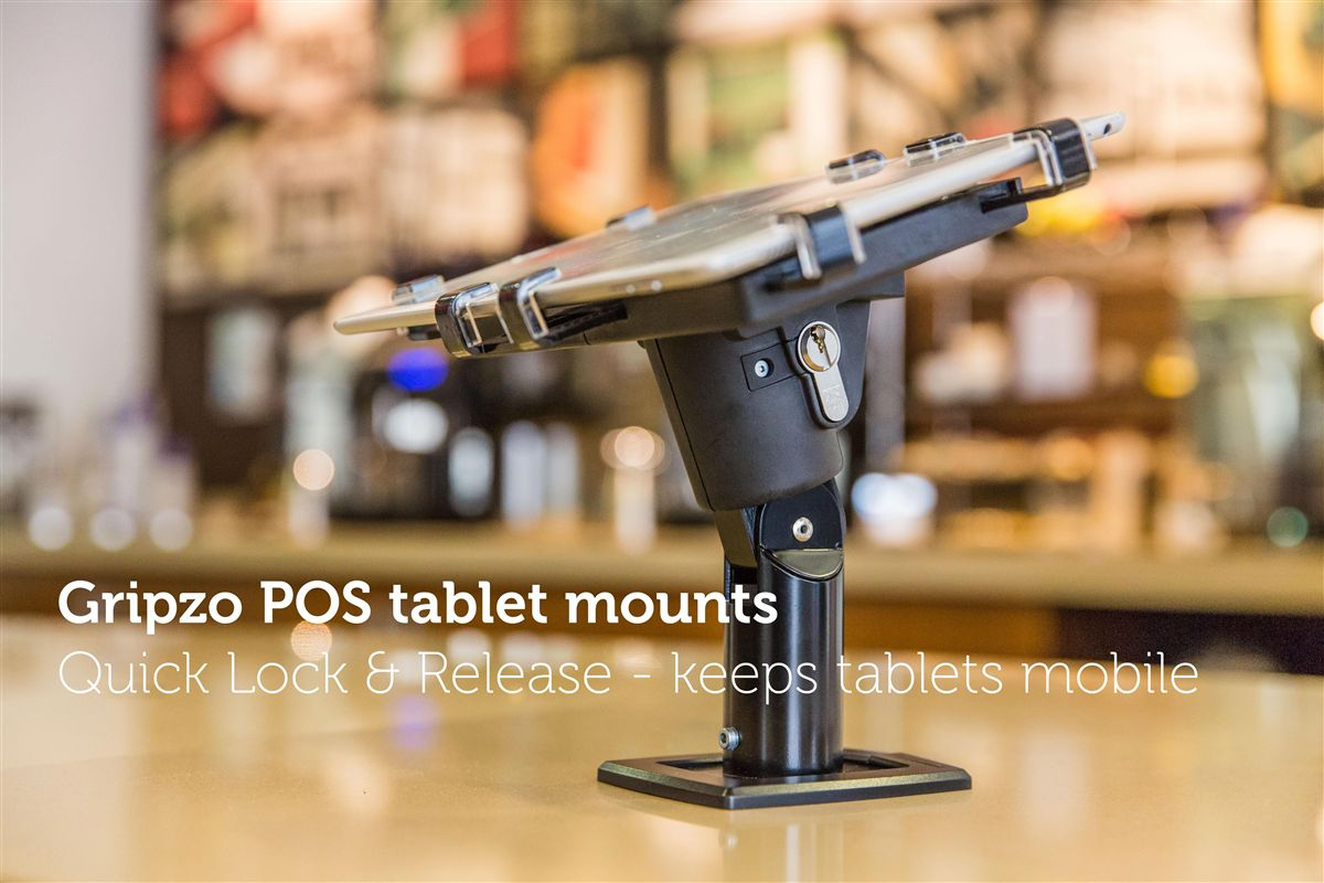 Gripzo, tablet holder, tablet security, restaurant tablet, public space tablet holder, black, white